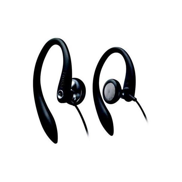 Philips in-ear med sportshovedtelefoner med øre krog. Sort