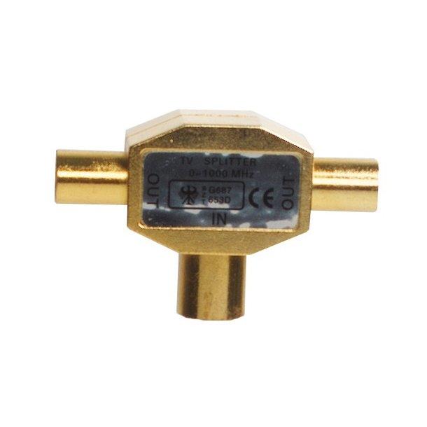 Sinox Plus Antenna Splitter RadioCoax M - 2 Coax F GOLD